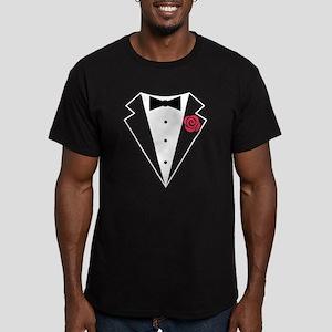 Funny Tuxedo [red rose Men's Fitted T-Shirt (dark)